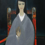 Woman sitting on antic chair