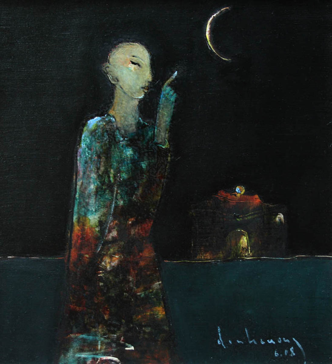 Buddha pointing at the moon